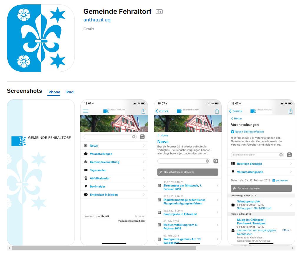 Gewerbeverein neu auf der Fehraltorfer App