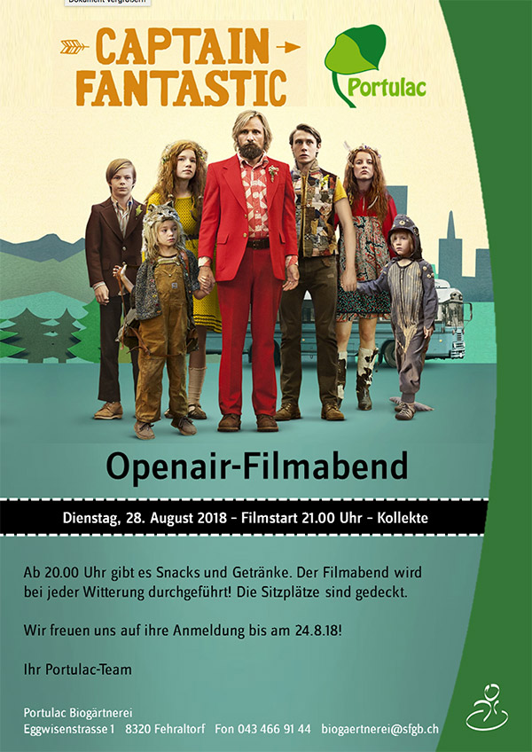 Openair-Filmabend - Portulac Biogärtnerei lädt ein!